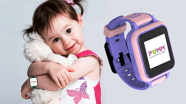 Little girl wearing the POMM® device on wrist