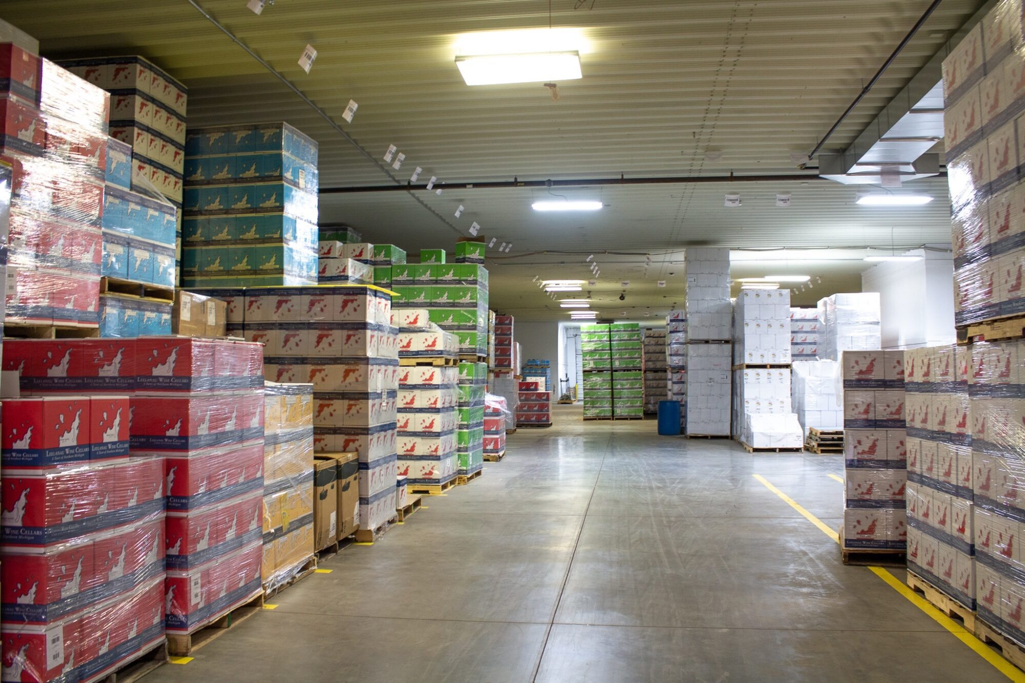 warehouse with bottles and product assembly