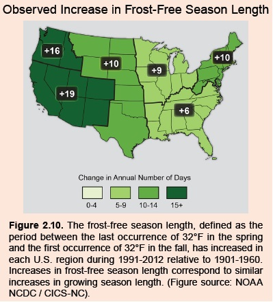 Frost Free Season Length Map