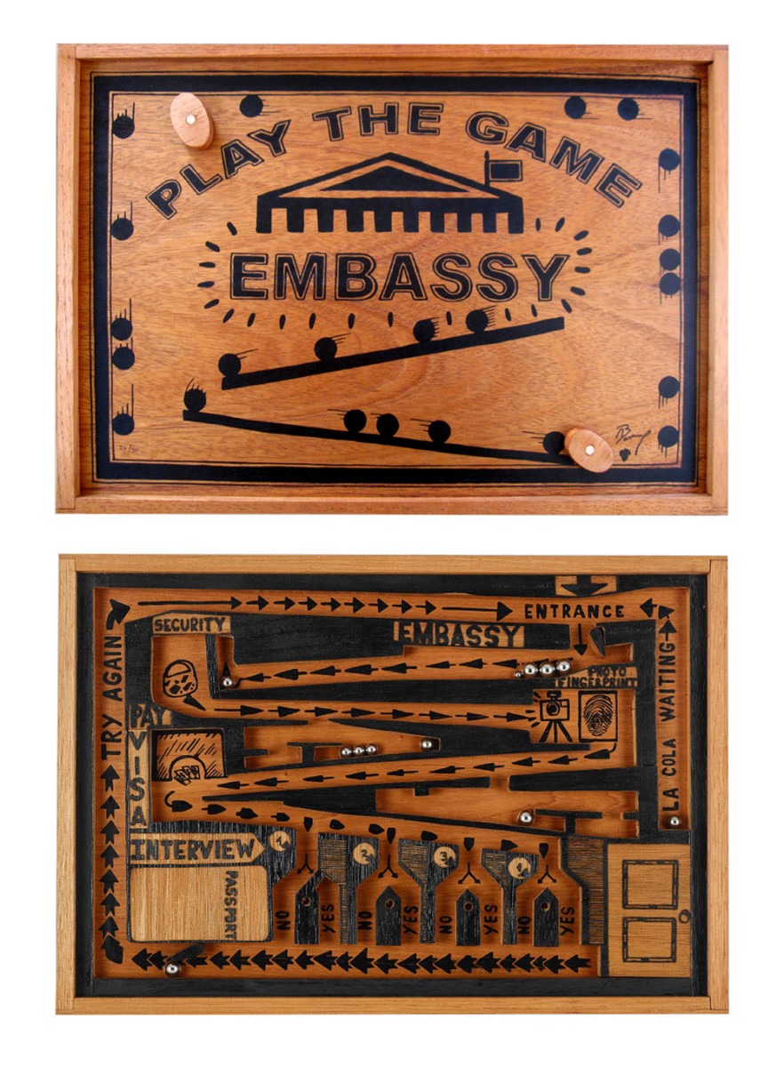 Abel Barroso_EMBASSY GAME_handmade Spanish cedar game box, laser and hand carved hardwood, screenprint and relief roll with 12 stainlesssteel balls under plexiglass_13.25 x 19.25 x 1.75 inches