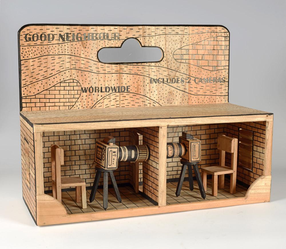 Abel Barroso_GOOD NEIGHBOR_Hand carved wood sculpture, woodcut, plexiglass_22 x 26 x 11 inches