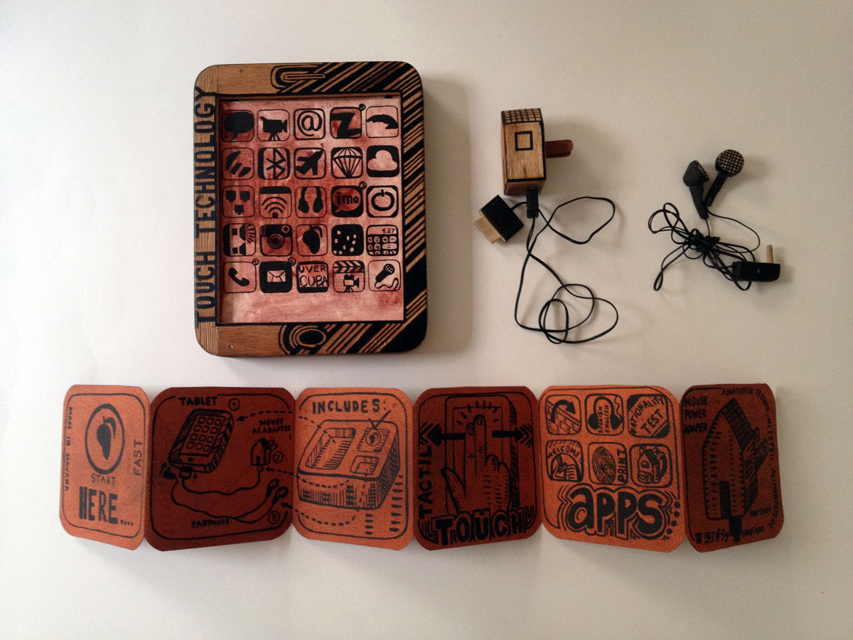 Abel Barroso_TABLETA_Hand carved wood sculpture, woodcut, canvas_10 x 9 x 2 inches
