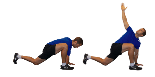 advanced Spiderman lunge for tight hip flexors