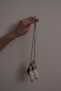 Knot step 5 - four bobbins prepped and knotted at the top