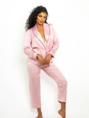 Pink Trendy Luxe satin Robe Style Top With Capri Pants