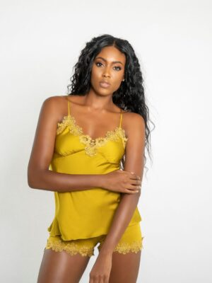 Golden Yellow Luxe Satin Embroidered Lace Detail Cami and Shorts Set
