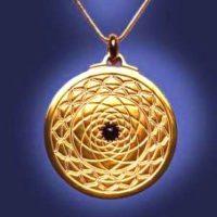 Exquisite Mandala Pendant 18k over Titanium