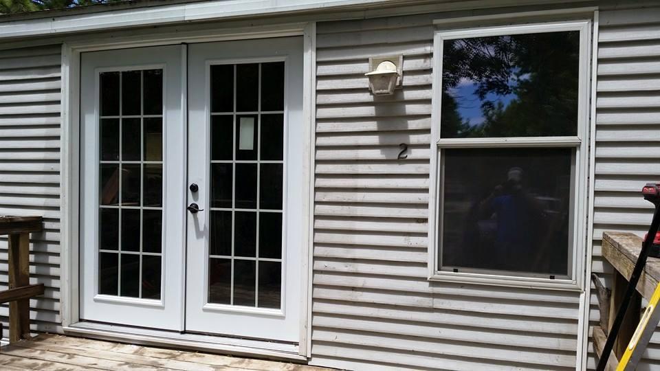Exterior door replaced with French doors