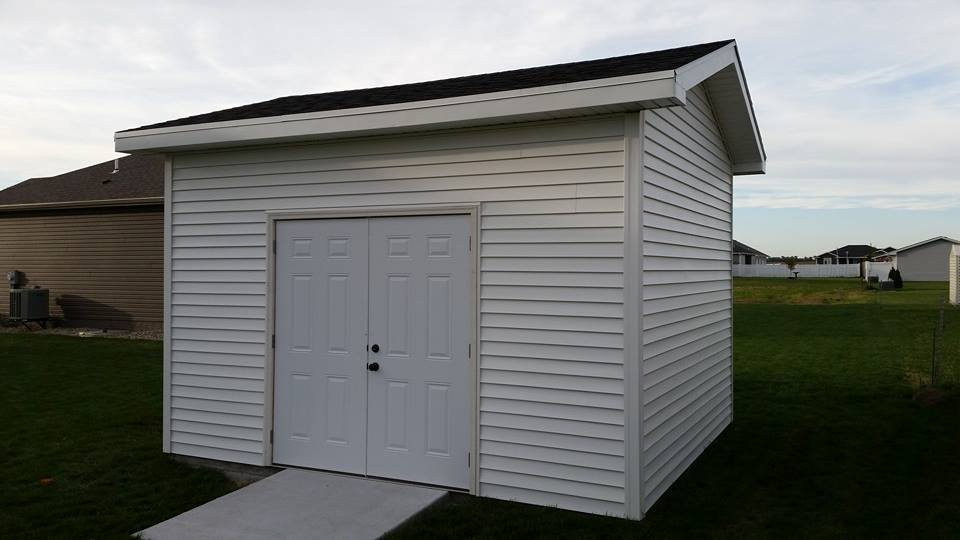White storage shed
