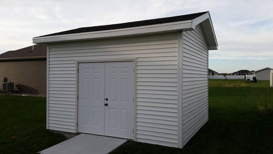 White storage shed