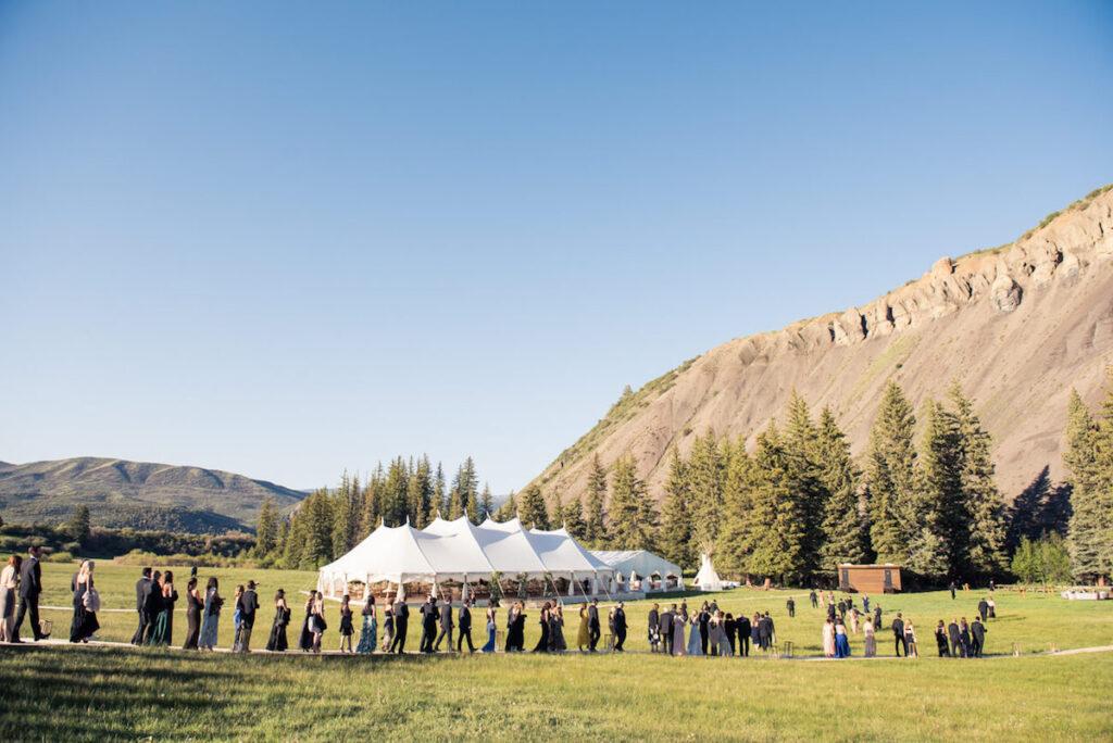 wedding reception in Snowmass near Aspen, CO - wooden path