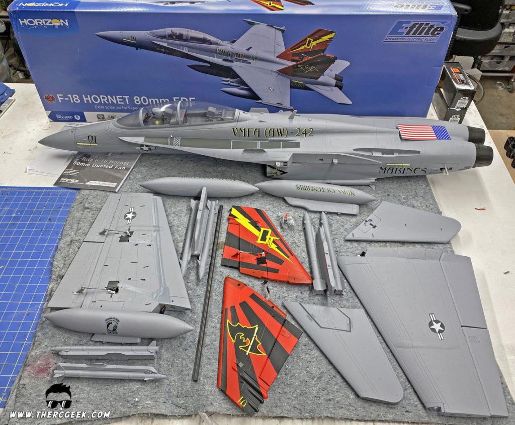 E-flite F-18 Hornet Kit Contents