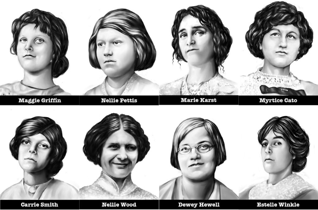 "Eight of the TWENTY #MeToo girls and young women who testified under oath of the ""lascivious character"" of Leo Frank"