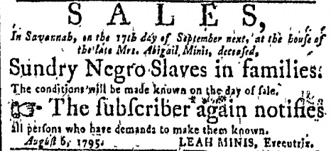 Georgia Jewish slave trader Leah Minis