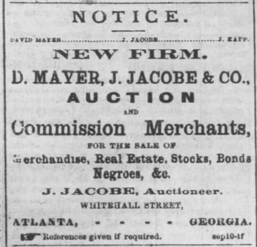 Georgia Jewish slave traders Mayer & Jacobe