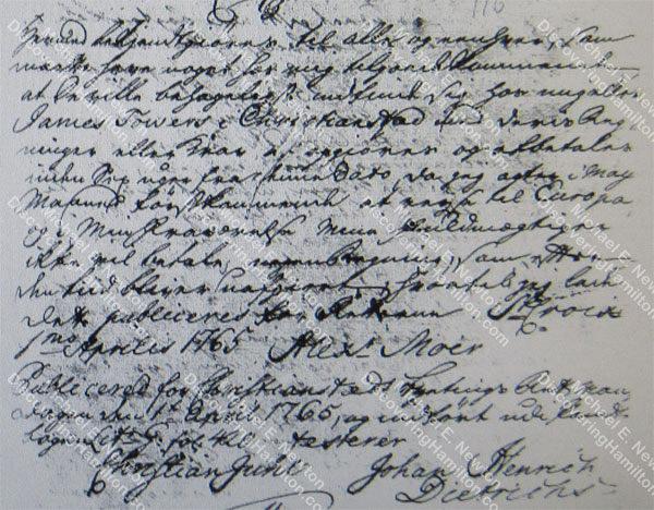 Alexander Moir announcement, April 1, 1765
