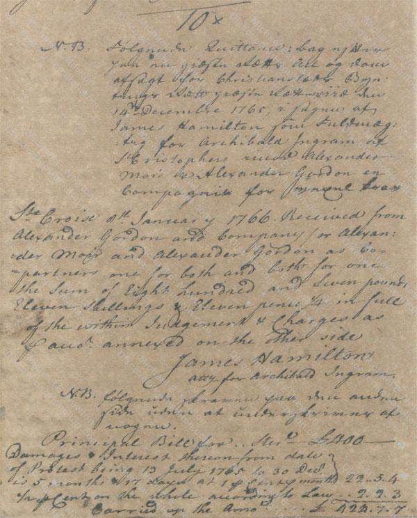 James Hamilton collects debt from Alexander Moir & Alexander Gordon 1