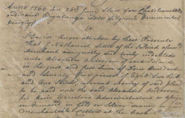 James Hamilton witness, June 25, 1766 1