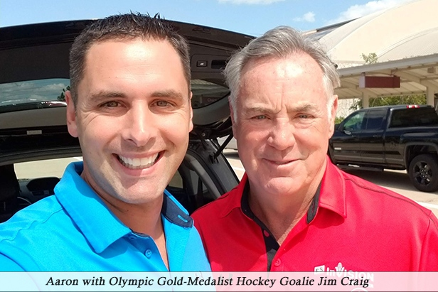 Aaron with Olympic Gold-Medalist Hockey Goalie Jim Craig