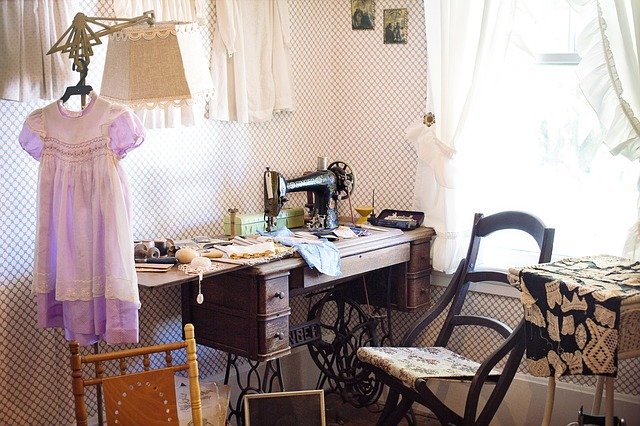photo of sewing room with antique sewing machine