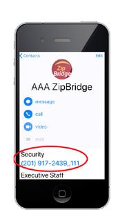 Step 1 Phone printscreen showing ZipBridge contact info