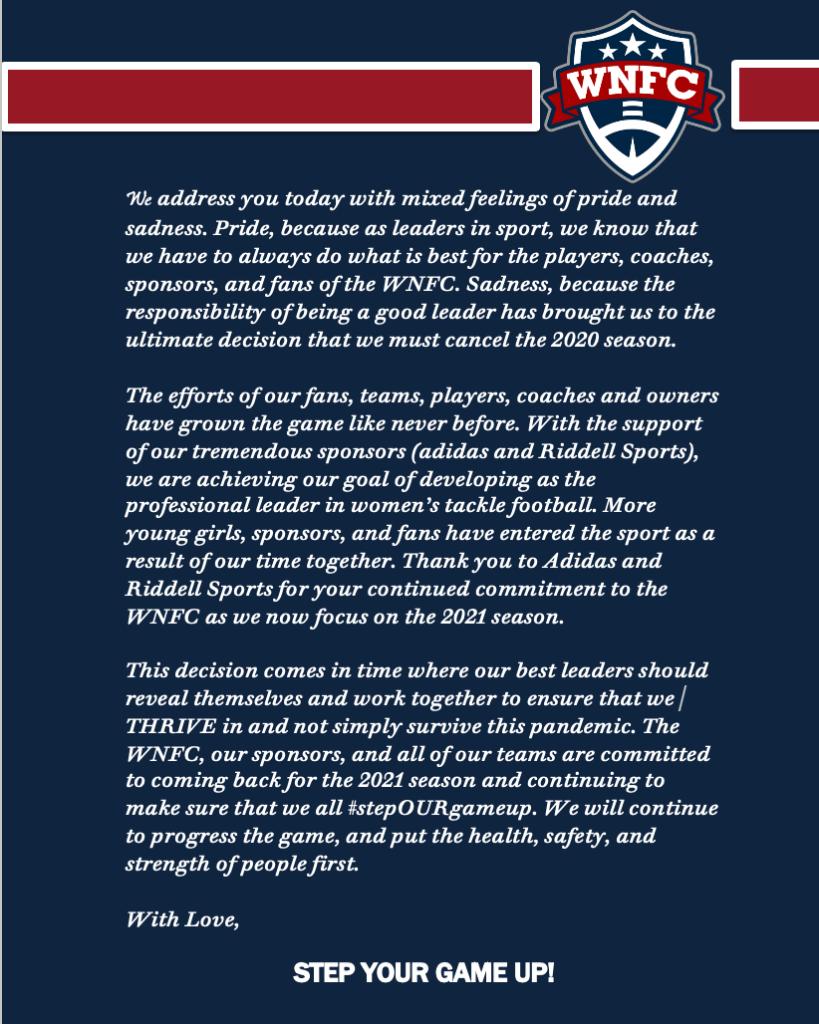 WNFC Football Season cancelled