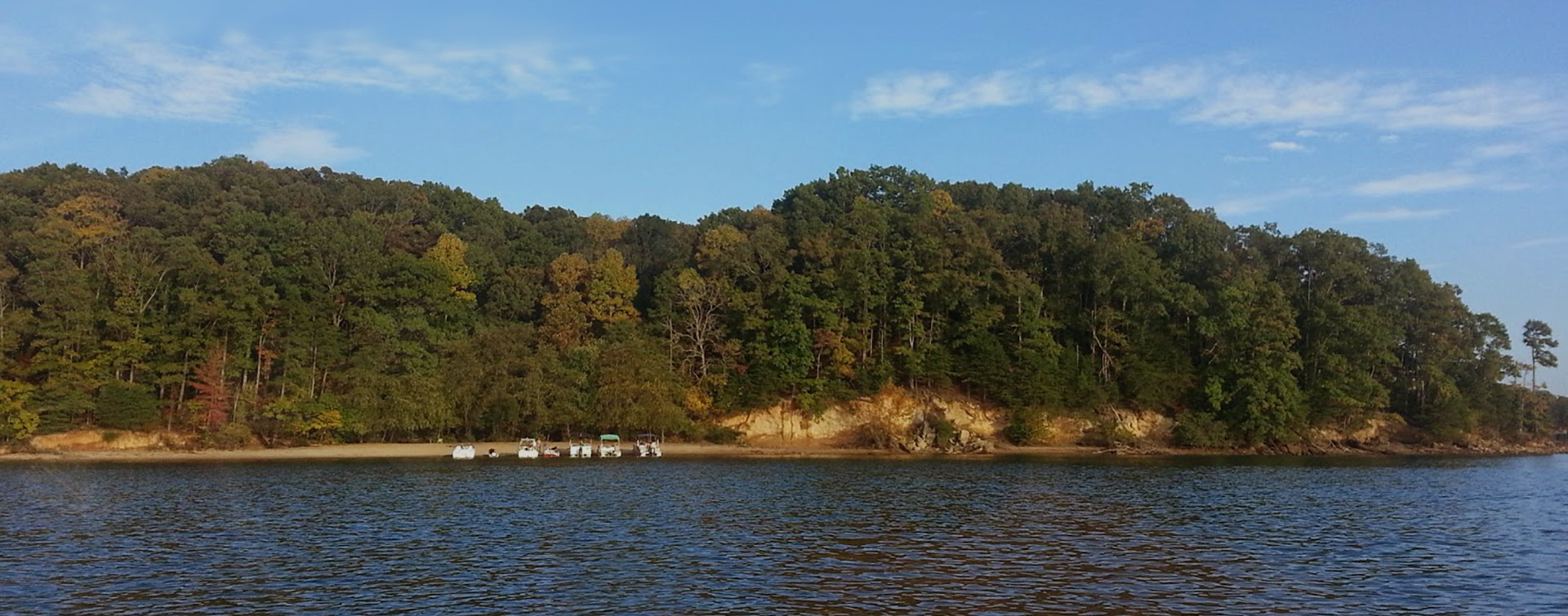 Lake Lanier shore line with boats in the distance