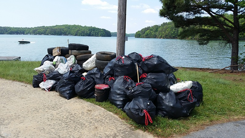 Pile of trash and debris after shore sweep