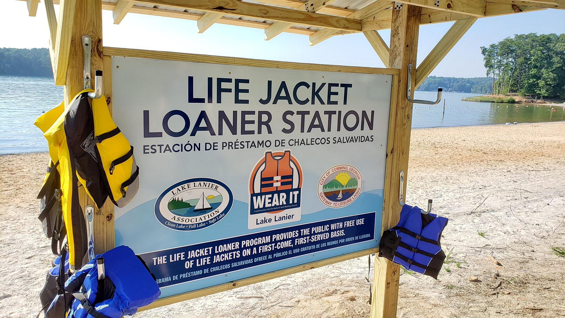 Life Jacket Loaner Station Sign