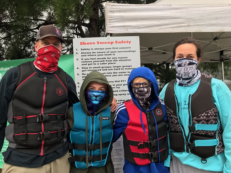 Shore Sweep Volunteers with masks and lifejackets