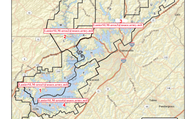 Thumbnail for the article Corps of Engineers Shoreline Area Ranger Contact Map