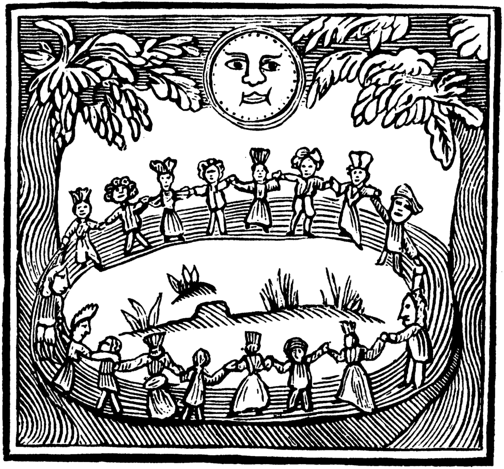 Woodcut of a witches' circle