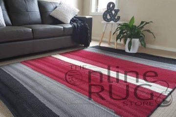 Modern Red Grey Black Stripe