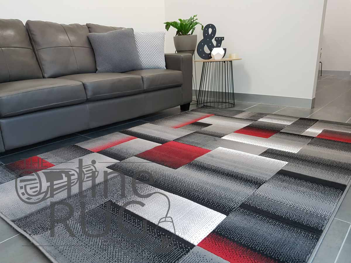 Style Red Grey Geometric Square