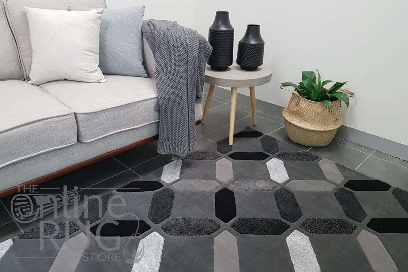 Style Grey Geometric Diamond Tiles Rug