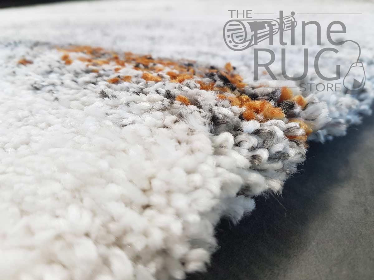 Hunter Plush Grey Orange Stripes Rug