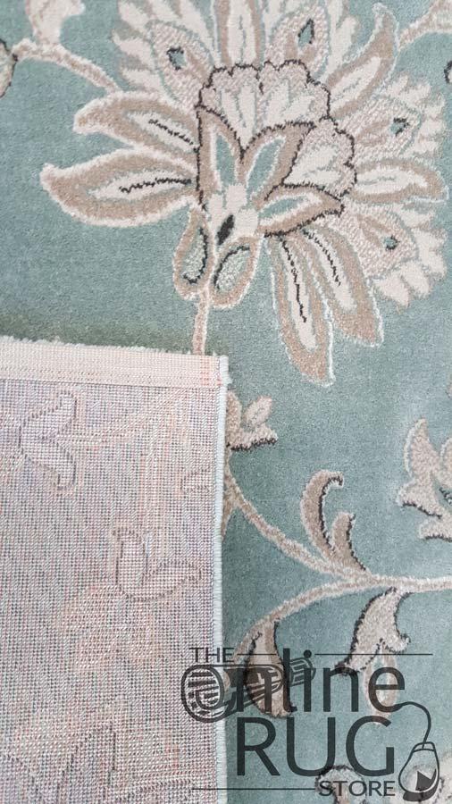Kara Blue Cream Floral Patterned Rug
