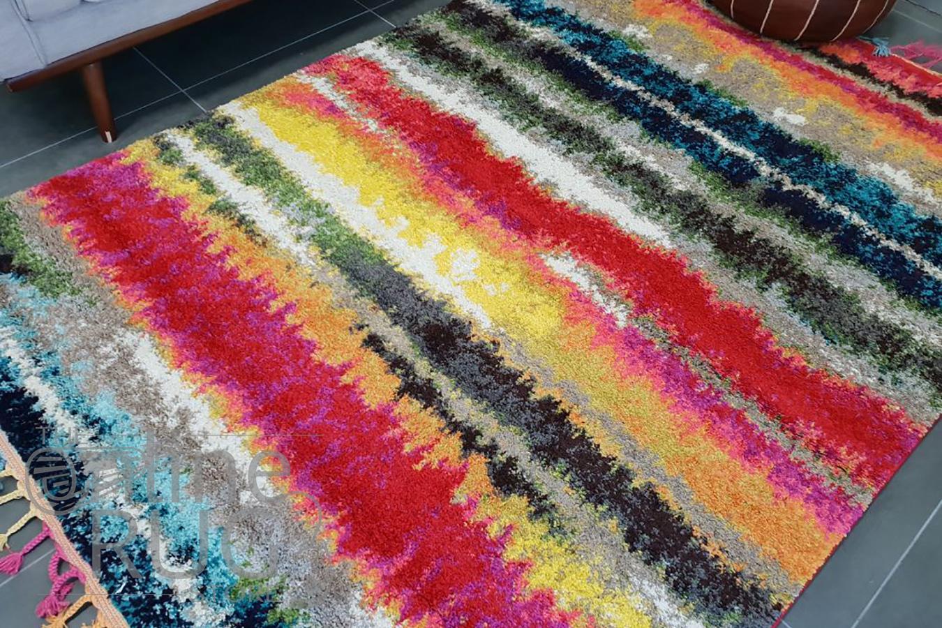 Karsha Colourful Stripes Pattern Rug