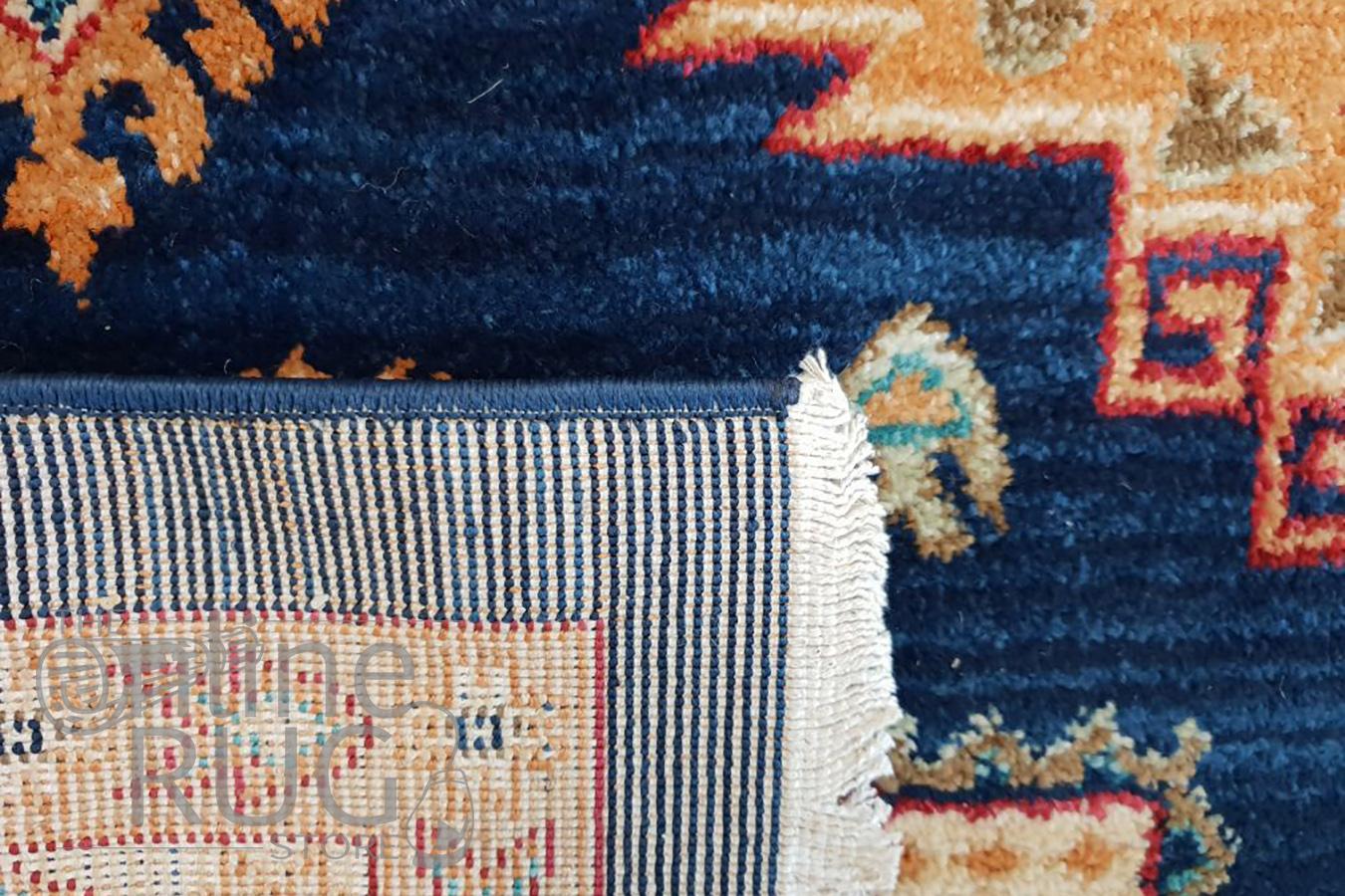 Mahala Blue Geometric Traditional Rug
