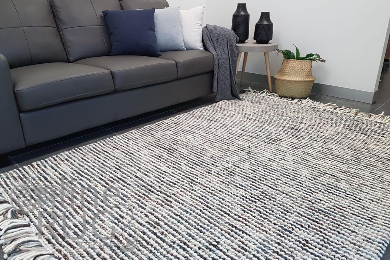 Missy Brown Blue Loop Pile Wool Rug