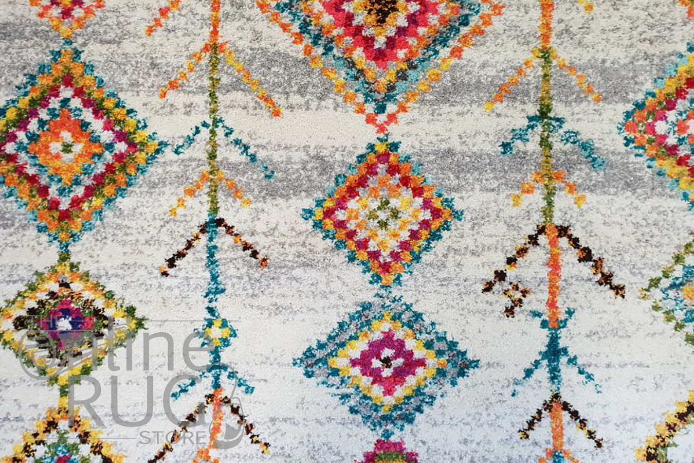 Karsha Cream Multi Coloured Tribal Diamond Rug