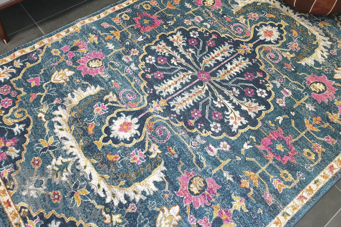 Blake Blue Pink Oriental Transitional Rug