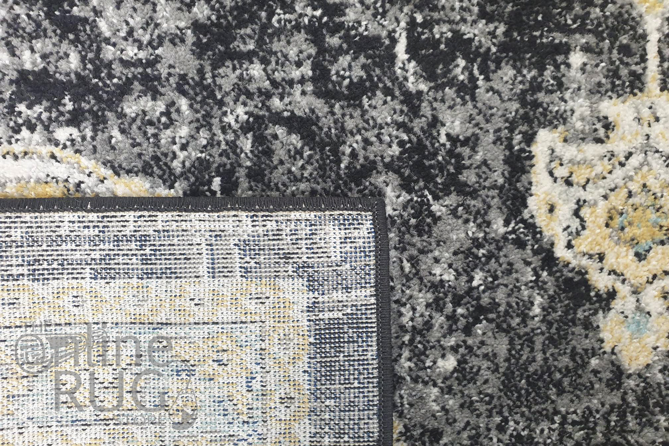 Celine Charcoal Yellow Medallion Distressed Rug