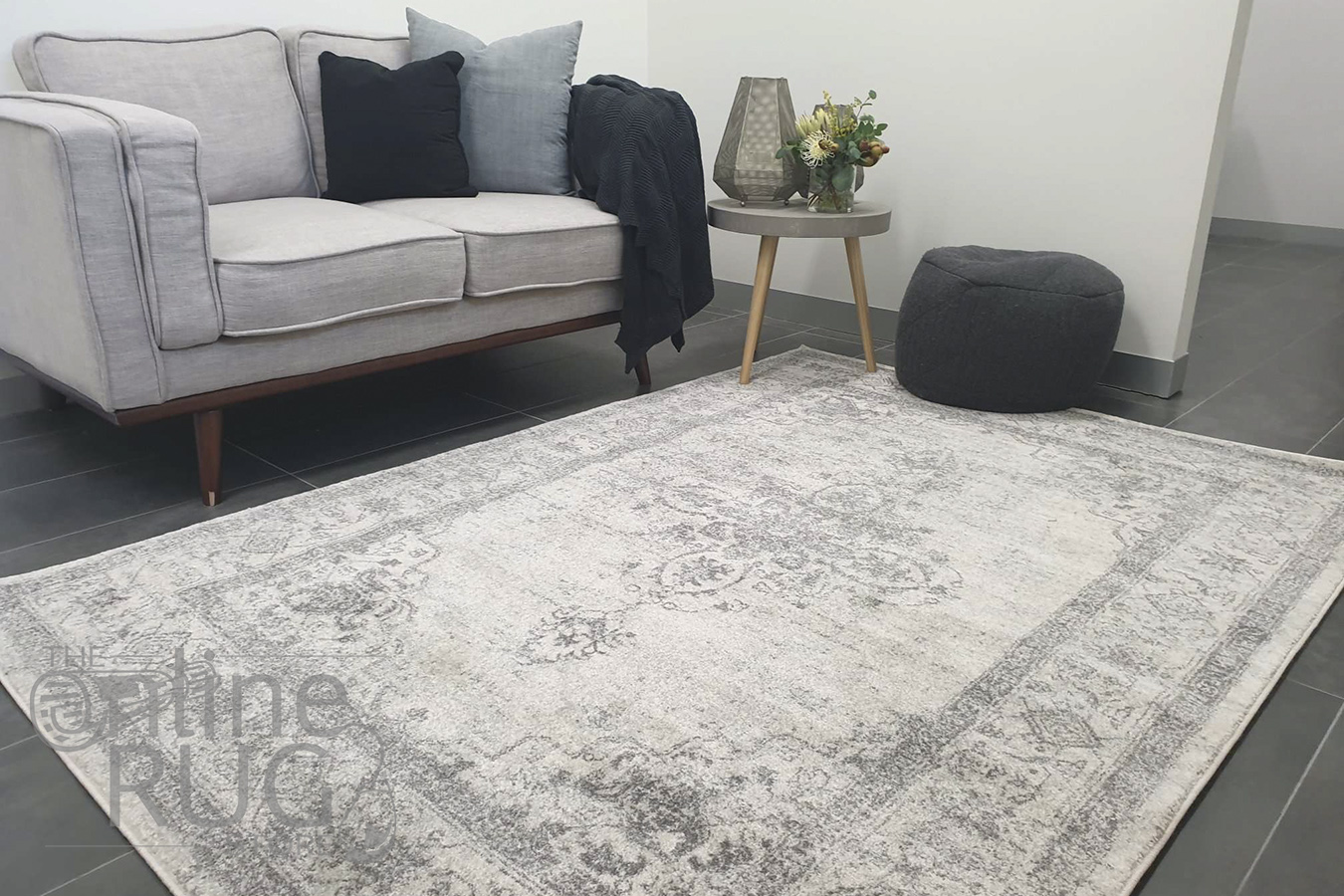 Celine Silver Faded Medallion Distressed Rug