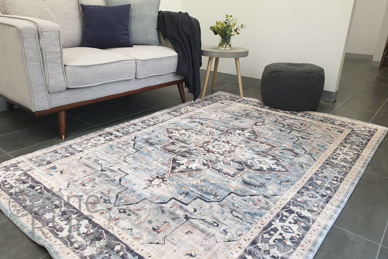 Ariel Charcoal Ivory Teal Medallion Transitional Rug
