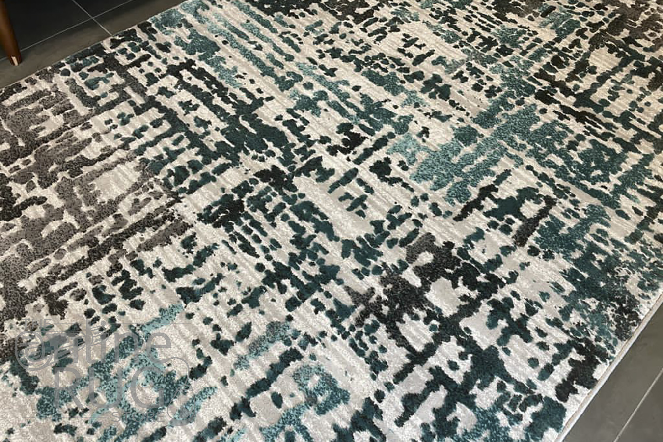 Camilla Grey Blue Abstract Stripe Rug