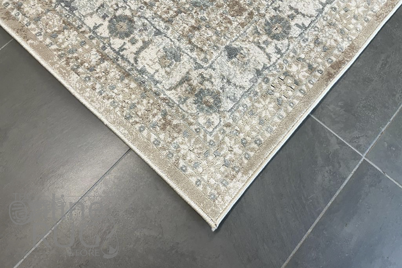 Grace Beige Medallion Faded Wash Transitional Rug