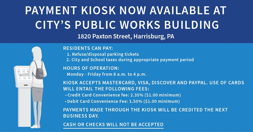 Harrisburg sets up kiosk to pay trash fees and parking tickets, for a fee