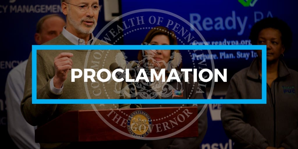 """Governor Tom Wolf issues emergency declaration authorizes National Guard, """"to activate personnel and use resources as necessary"""""""