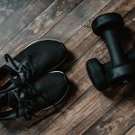 gym shoes and weights